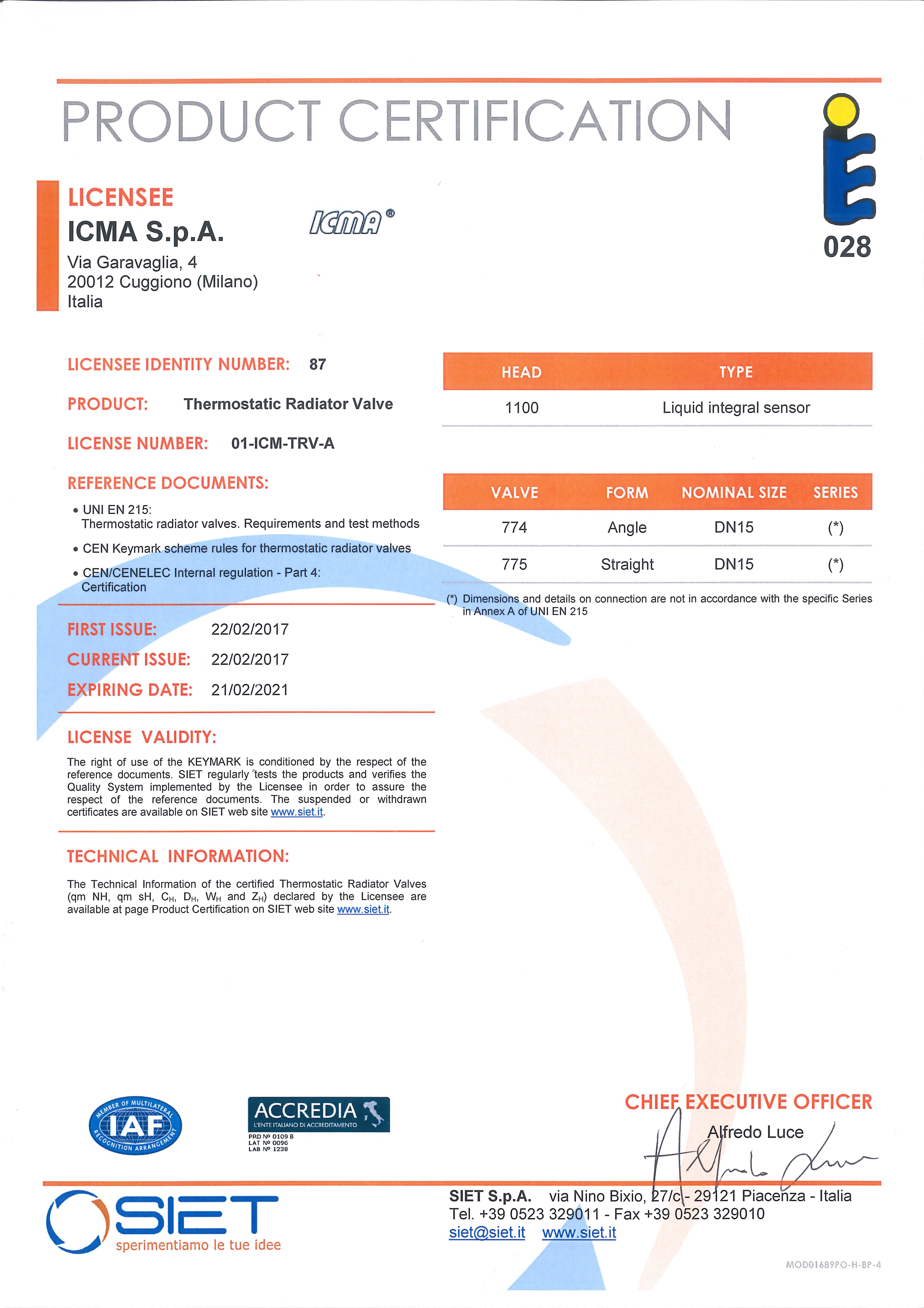 Сертифікат на термостатичні радіаторні крани ICMA