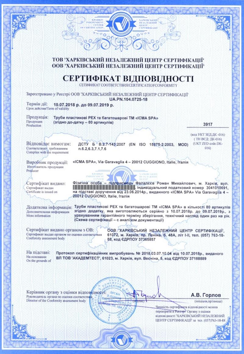 Сертифікат на пластикові труби ICMA